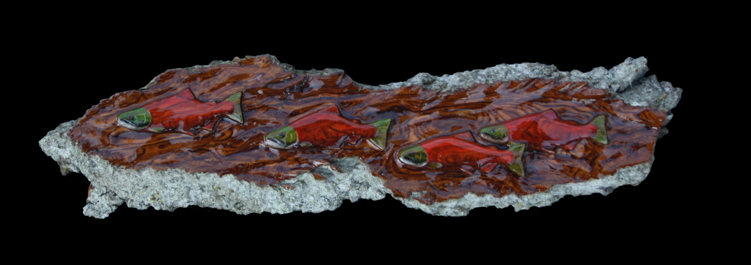 Red Salmon cottonwood bark carving by Ben Firth
